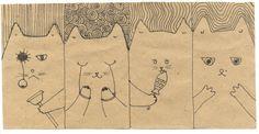 Michael, Fedor and Sergei just filled templates. Where is my cat? / Один кот мой, а Михаил, Фёдор и Сергей заполнили шаблоны. Где же мой?  #magrari #purpurcat #kraft #drawing 2010