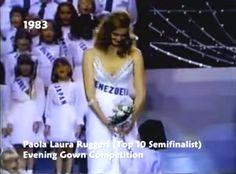 Miss Venezuela Paola Ruggeri,  en su presentación en Traje de Gala, en el Miss Universe 1983. desde San Louis, Missouri USA