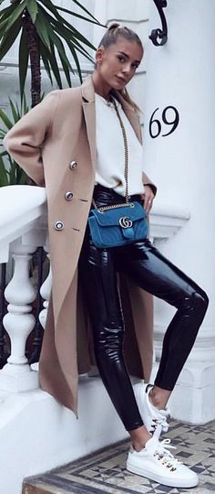 #winter #outfits brown trench coat
