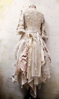 ❥ gibbous fashions~ custom dress  made from salvaged antique fabrics...for the lovely performer kate mior .. ♥