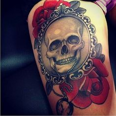 So pretty! #skulls #roses #tattoo