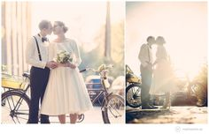 Tolle Idee für Eure Hochzeit: ein Tandem! Mehr Fotos mit dem geliehenen Tandem findte Ihr im Artikel dieser Hochzeit in Leipzig in der Kirche Trinitatis. Foto: Matthias Friel