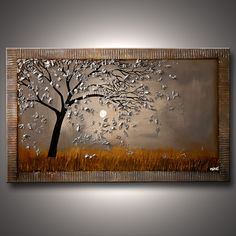 Original abstract art paintings by Osnat - abstract tree on gray background