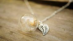 Dandelion Necklace with Silver Leaf Charm por blueshining en Etsy