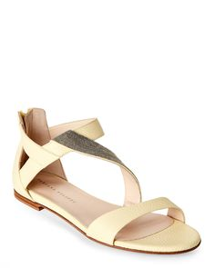 e1c71f50ec6 Fabiana Filippi Light Yellow Leather Embellished Asymmetric Flat Sandals  Yellow Leather
