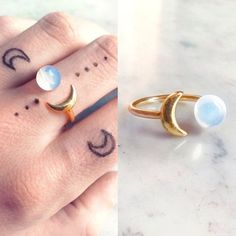 Opal gold moon ring | Opalite boho ring | Crescent white clear stone ring | Iridescent moon jewelery | Semi precious gemstone