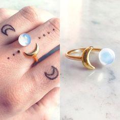 Opal gold moon ring | Opalite boho ring | Crescent white clear stone ring | Iridescent moon jewelery | Semi precious gemstone