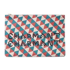 This Clare Vivier leather clutch is an elegant evening bag or perfect with blue jeans. Printed with red and blue triangles, and CHARMANT CHARMANT in yellow, the design was inspired by a vest from LACM Crown Royal Quilt, Yellow Words, African Shop, Elmo Party, Esquivel, Natural Styles, Neon Yellow, Leather Clutch, Adult Coloring