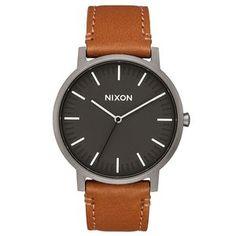 Nixon Watches - Nixon Porter Leather Watch - Gunmetal / Charcoal / Taupe