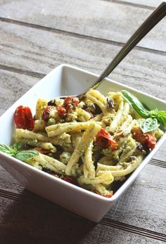 The Italian Dish - Casarecce Pasta with Pesto, Eggplant and Slow Roasted Tomatoes