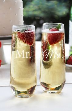 I love these!!! CATHY'S CONCEPTS 'Mr. & Mrs.' Stemless Champagne Flutes (Set of 2) available at #Nordstrom