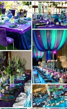 mardi gras theme in blue and teal wedding flowers | Purple/Teal Wedding Centerpieces or Events Decorations, romantic ... by Louise Palmer