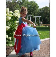 Flower girl dresses in Blue Silk