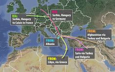 Migrant routes:Situated as it is in the heart of eastern Europe, Macedonia sees migrants arrive from numerous locations - with the majority arriving via land through Bulgaria and Turkey having fled war torn nations like Syria, Afghanistan and Libya