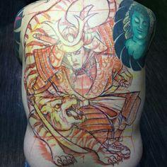 Japanese tiger and samurai back piece. Japanese Tiger, Back Pieces, Tiger Tattoo, Samurai, Back Tattoos, Samurai Warrior, Back Tattoo