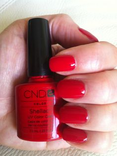 Shellac Red nail polish.