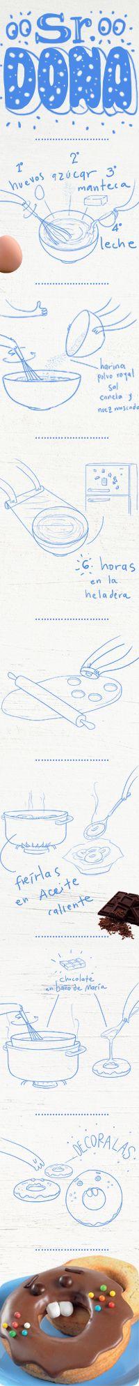 INGREDIENTES: Para la masa: 2 huevos, 1 taza de azúcar  2 Cdas. de manteca, ¾ taza de leche,  3 ½ tazas de harina, 1 Cda. de Polvo Royal, ½ cdta. de sal, 1 cdta. de canela, ¼ cdta. de nuez moscada.  Para decorar: 350 g de chocolate cobertura, Confites de chocolate, Granas de colores, Pastillaje para los dientes.
