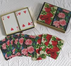vintage card game . bridge game . vintage bridge game . roses bridge game…