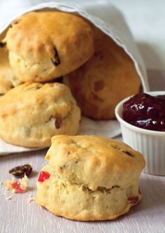 Delightful fruit scones from Mary Berry. This recipe for special fruit scones, packed with colourful mixed fruit, is kept moist with a tea towel after baking. Mary Berry Fruit Scones, Cherry Scones, Sweet Recipes, Cake Recipes, Dessert Recipes, Desserts, Cookbook Recipes, Baking Recipes Uk, Nutella Recipes