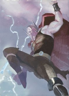 ESAD RIBIC - Thor Jumping Watercolor Commission Example - Now Accepting Commissions for the New York Comic Con: October 10th - 13th Comic Ar...