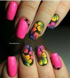 21 - You want to make your nail polishes patterned, here are examples. - 1 We are introducing 2019 marbling nail designs with you. How about meeting y. Best Acrylic Nails, Acrylic Nail Designs, Nail Art Designs, Fancy Nails, Cute Nails, Pretty Nails, Spring Nails, Summer Nails, Jolie Nail Art