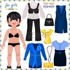 Paper doll with a set of elegant clothes Business style Cute fashion girl Template for cutting  Stock Vector