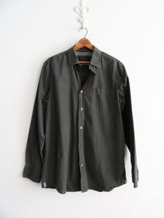 Mens Banana Republic Size Medium Dark Olive Green Long Sleeve Shirt EUC #BananaRepublic #ButtonFront #bananarepublic #mensclothing