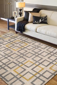 Surya Artist Studio 8' Round Contemporary Plush Rug, Beige with Gray and Yellow (ART231-8RD) at Remodelr.com