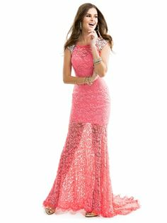 Sophisticated Lace And Sheer Floor Length Prom Dress Flirt P2844