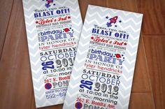 SPACE ROCKET Boy Birthday Printable Invitation in Navy. $15.00, via Etsy.
