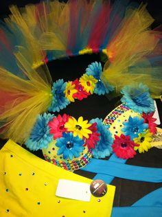 EDC, rhinestone & daisy Rave, Hippie, costume, dance, festival lace bra top, bustle (1/2 tutu) shorts and headband rave outfit