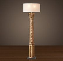 Hand-Carved Corinthian Column Floor Lamp - Natural