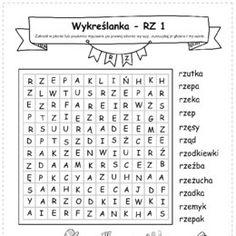 Logopedyczne gry, ćwiczenia z języka, karty do wydrukowania. - Printoteka.pl Polish Language, Hand Lettering, Education, Reading, School, Decor, Speech Language Therapy, Handwriting, Word Reading