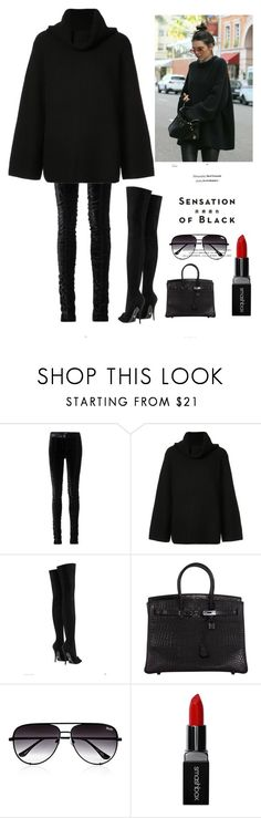 """""""Trendy in BLACK"""" by kotnourka ❤ liked on Polyvore featuring Tom Ford, Chloé, Versace, Vision, Hermès, Quay, Smashbox and allblackoutfit"""