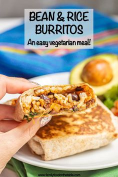 Bean and rice burritos are perfect for an easy, wholesome hot lunch or dinner with little effort but big flavor. These vegetarian burritos can be customized with your favorite extra add-ins and your favorite toppings.