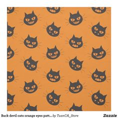 Back devil cats orange eyes pattern Halloween