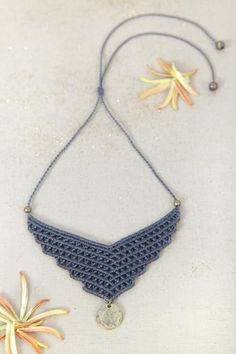 Macrame necklace handmade jewelry