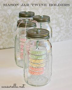 'A Casarella: Mason Jar Twine Holders.  such a pretty solution to storing my small bits.