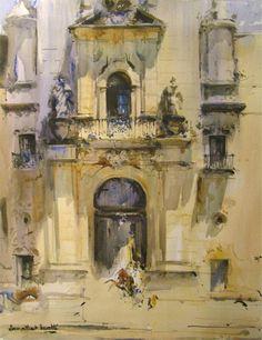 by Laurentino Marti Watercolor Artwork, Watercolor Artists, Watercolor Landscape, Watercolor Illustration, Fachada Colonial, Colour Architecture, Beautiful Architecture, Painting Competition, Collor