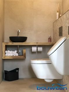 Toilet with urinal – Bouwton - Modern Country Interior Design, Bathroom Interior Design, Minimalist Toilets, Wc Decoration, Small Toilet Room, Small Toilet Design, Tiny Bath, Concrete Bathroom, Bathroom Design Inspiration
