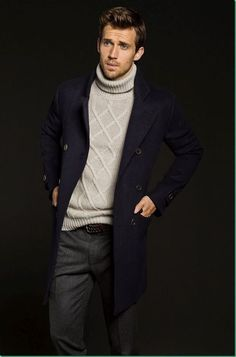 Black Cashmere Peacoat, Grey Basket Weave Turtleneck, Black Jeans. Men's Fall Winter Fashion.