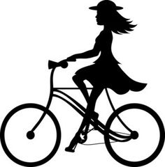 Bike Riding Clipart Image: Clip Art Ilustration silhouette of a girl riding her bicycle Silhouette Cameo, Bike Silhouette, Silhouette Projects, Silhouette Images, Silhouettes, Girl Clipart, Bike Art, Clipart Images, Paper Cutting