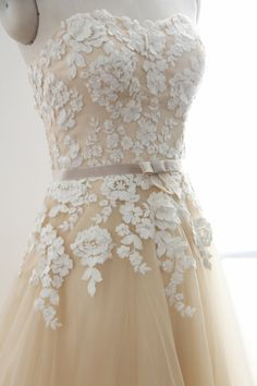 A Line Flower Lace Champagne Wedding Dress by GorgeousBridalGowns
