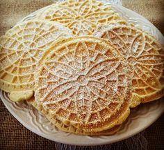 Pizzelles just like Grandma's but gluten and dairy free! Gluten Free Pizzelle Recipe, Gluten Free Cookies, Gluten Free Baking, Vegan Gluten Free, Paleo, Allergy Free Recipes, Gf Recipes, Sweet Recipes, Whole Food Recipes