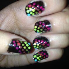 #neon #dots #colors #nails #nailart #nailpolish #spots #green #pink #yellow #orange #blue