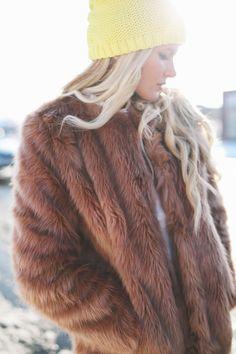 Barefoot Blonde - faux fur + yellow beanie