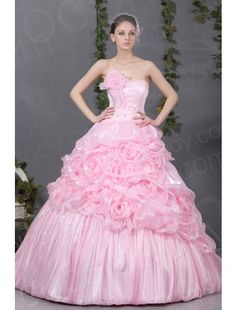 6bcc883f1e5   USD  279   Divine Princess Sweetheart Sweep-Brush Train Organza Pink Quinceanera  Dress COJT13005
