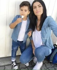 How cute is this Mom and Son matching outfit. The jean outer button up shirt would look great with an endless outside Jackalope Tee! Mom And Son Outfits, Family Outfits, Baby Boy Outfits, Kids Outfits, Mother Son Matching Outfits, Fashion Kids, Baby Boy Fashion, Mommy And Son, Mom Son