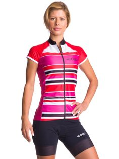 Women's Cycling Jersey Our women's cycling jerseys fit and flatter women's bodies. This lightweight version of our top has barely there breathable fabric and shorter sleeves, both of which are perfect