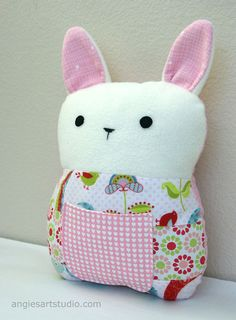 Patchwork Bunny Tooth Fairy Pillow Plush Stuffed by angiebabygifts, $33.00
